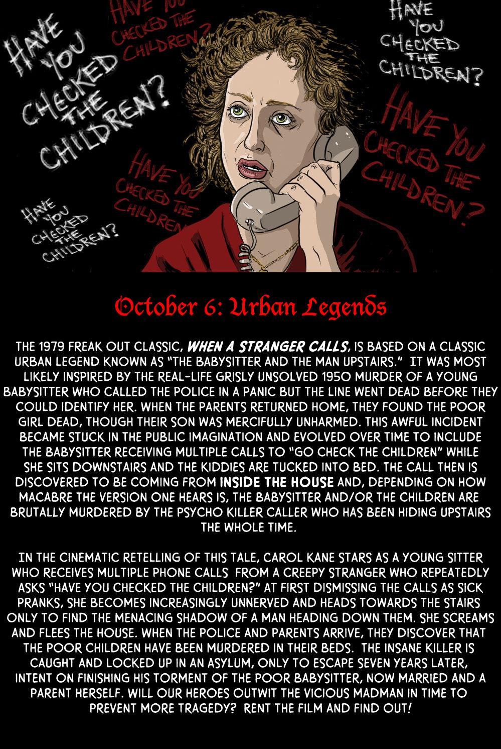"October 6: Urban Legends ""When a Stranger Calls"""