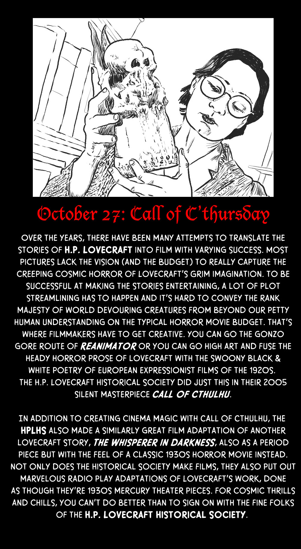 October 27: Call of C'thursday (with the HPLHS)